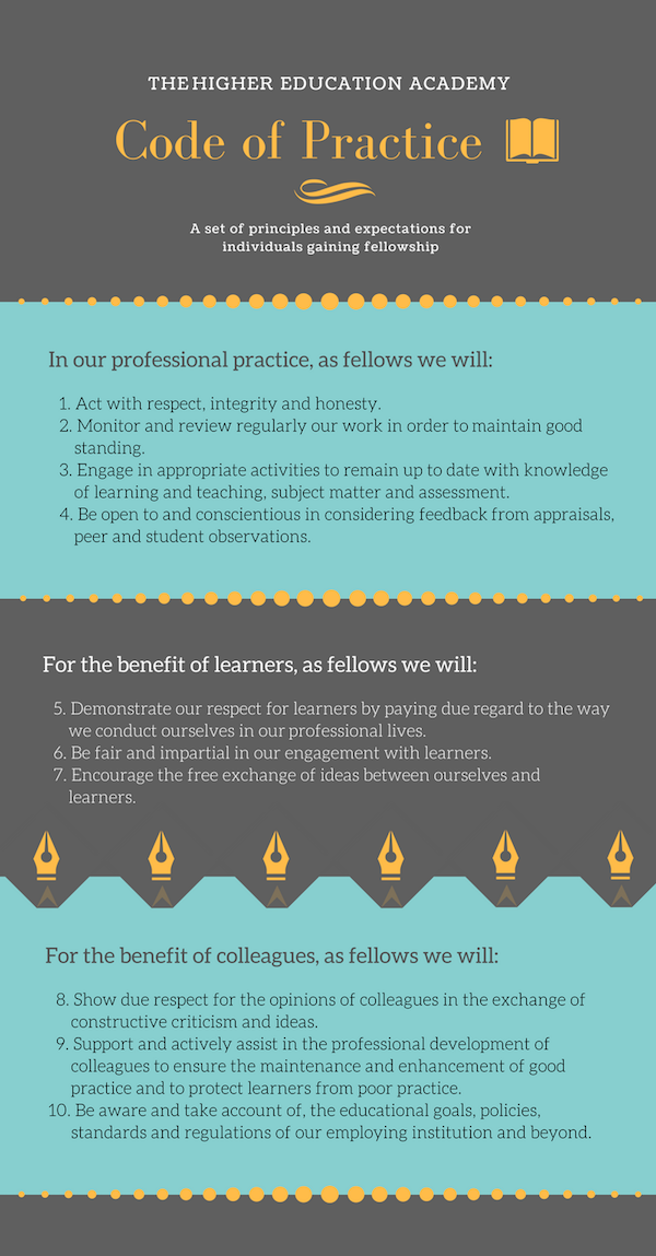 In our professional practice, as Fellows we will: 1. Act with respect, integrity and honesty. 2. Monitor and review regularly our work in order to maintain good standing. 3. Engage in appropriate activities to remain up to date with knowledge of learning and teaching, subject matter and assessment. 4. Be open to and conscientious in considering feedback from appraisals, peer and student observations. For the benefit of learners, as Fellows we will: 5. Demonstrate our respect for learners by paying due regard to the way we conduct ourselves in our professional lives. 6. Be fair and impartial in our engagement with learners. 7. Encourage the free exchange of ideas between ourselves and learners. For the benefit of colleagues, as Fellows we will: 8. Show due respect for the opinions of colleagues in the exchange of constructive criticism and ideas. 9. Support and actively assist in the professional development of colleagues to ensure the maintenance and enhancement of good practice and to protect learners from poor practice. 10. Be aware and take account of, the educational goals, policies, standards and regulations of our employing institution and beyond.
