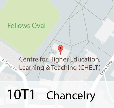 Map of 10T1 Chancelry showing Centre for Higher Education, Learning & Teaching (CHELT)